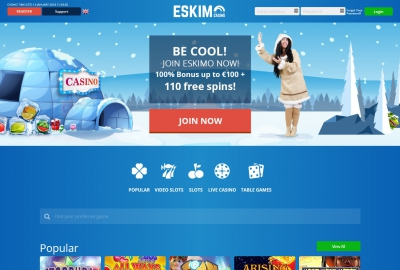 Eskimo Casino Homepage
